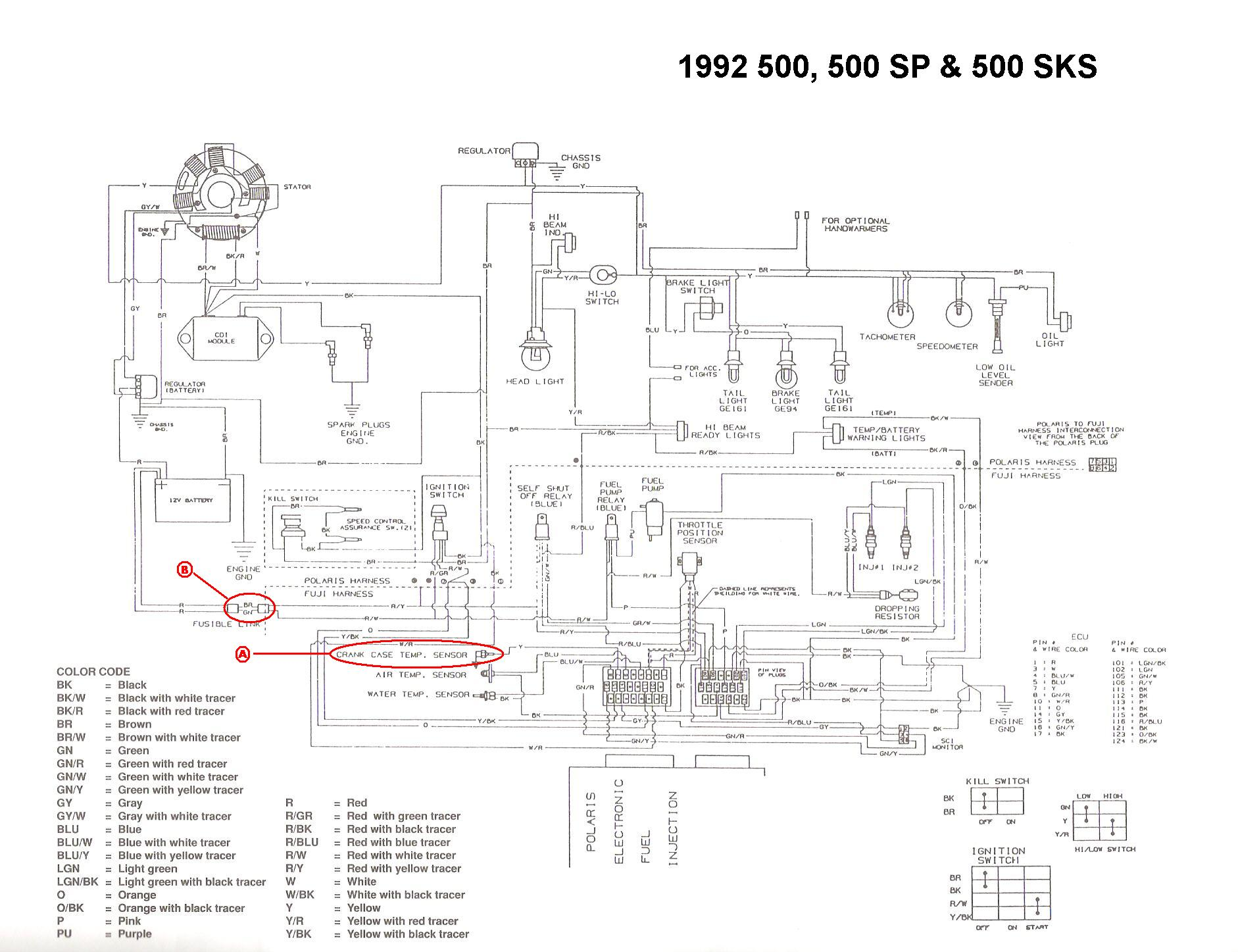 ... 1992 indy 500 efi no ground signal rh snowmobilefanatics com 2004  Polaris Sportsman 400 Wiring Diagram