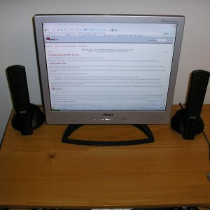 Flatscreen LCD - I LOVE this thing. Best money i've ever spent. It is a 17 inch unit.