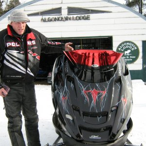 Is this really my sled? - Cliff holding his new hood in -33 temps still in shock from the Royal Tratment