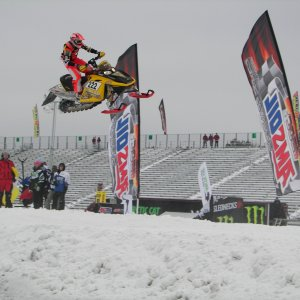 Smacking a jump at the Brainerd national snocross race