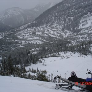 Harvey Creek.  the spot where the sled sits now is where the avalanche took place taking 8 lives in december. RIP